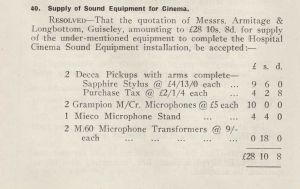 Supply Of Cinema Equipment July 1948
