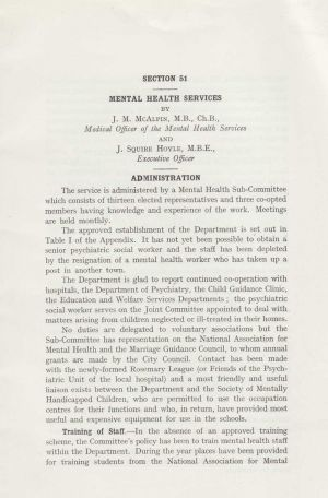 Mental Health Services 1958, page 1