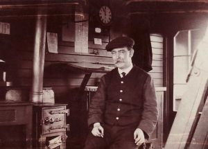 F Eric Rogers Father pictured in the Guiseley Signal Box  June, 1914