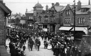 The army marching through Guiseley WW1.