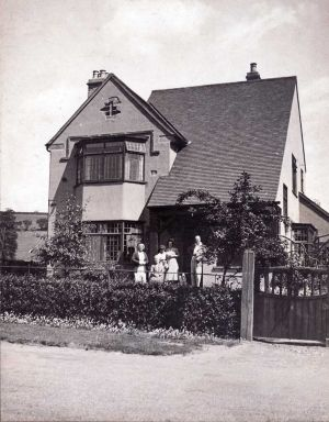 The Haven, Netherfield Road, Charles Edward Teale pictured far right.  The house built in 1930 was designed by F, E, Rogers