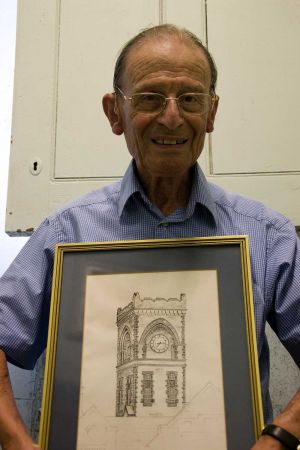 Braham Myers With His Leaving Present A Drawing Of The Clock Tower.