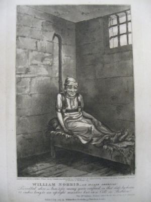 The sad tale of James Norris (mistakenly called William by the press) captured the attention of the public in 1814 when he was discovered in Bethlem Royal Hospital, mechanically restrained and in poor health, having been confined in isolation for more than ten years. Norris, a seaman from America, was originally incarcerated in 'Bedlam' for an unnamed lunacy and was, after a number of violent incidents, restrained in this extraordinary device designed specifically for him. No less than six members of parliament visited Norris during 1814, each maintaining that he was rational, quiet, and capable of coherent and topical conversation.