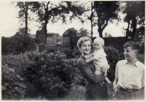 Janet Bitton Holding Mike Bitton With Peter Stood To The Right In The Garden Of Home Farm Circa 1953