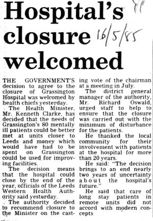 Grassington hospital closure 16th May 1985