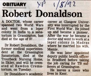 Robert Donaldson 1st August 1982