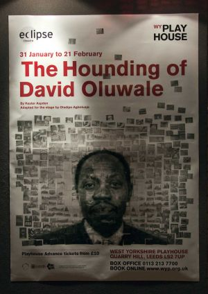 The image for the world premiere production of The Hounding of David Oluwale is a photo-mosaic of David�s face, made up of smaller pictures of Leeds locations, many of which David knew well during his time in Leeds. It�s now on a banner at the side of West Yorkshire Playhouse, a co-producer of the play with Eclipse Theatre, and so faces the police building and what remains of the original cells in which he was regularly held.