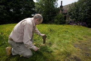 Derek Hutchinson, (pictured) unearths one of the grave markers found just below the surface, June 2008