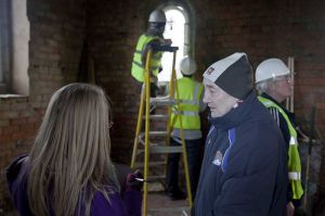 Laura (Yorkshire Evening Post) and Derek,  admiring the new windows being fit, 11th Feb 2010