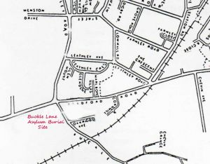 Map showing Buckle Lane in relation to the hospital.