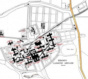 Map showing Buckle Lane in relation to the hospital