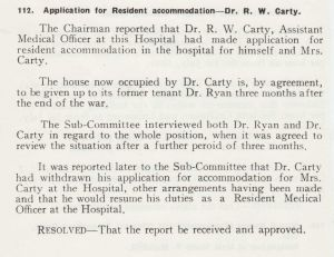 application for accomoddation dr r w carty july 1945.jpg