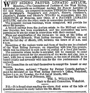 contractors menston asylum Leeds Mercury (Leeds, England), Thursday, March 5, 1885.jpg