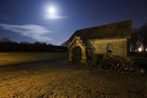 Buckle Lane Cemetery, bathed in moonlight..
