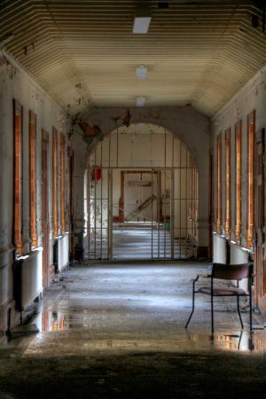 The famous gated corridor, this is in fact a prop left over from the film,  Asylum, 2003