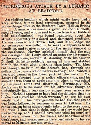 Murderous Attack By John Nicholls, Inmate 469  Admitted 13th June 1892 aged 42 Blacksmith By Proffession