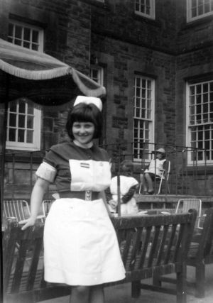 Carol Badham in Nurses Uniform Outside Whernside in 1968