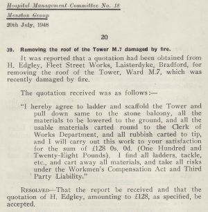 Denton Ward 7 Water Tower Removal 1948