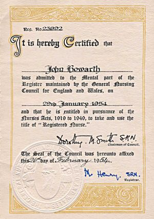 John Howarth Certificate