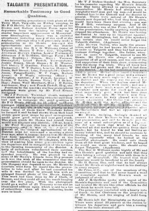 Brecon Times 1917 Tribute To Frank Howis