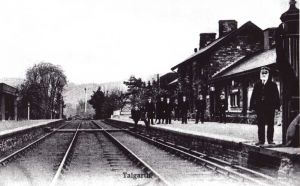 tTalgarth Station, 1908 Mr Del La Hay The Station Master On The Right