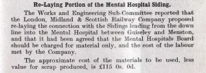 Mental Hospital Railway siding 1929