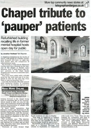 Telegraph %26 Argus June 29, 2012 Chapel Tribute To Pauper Patients