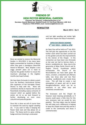 High Royds Memorial Garden Newsletter - March 2013