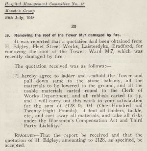 Denton - Clifton water tower removal 1948