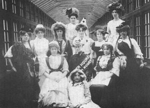 Female nursing staff in fancy dress for the patients ball 1910 sm.jpg
