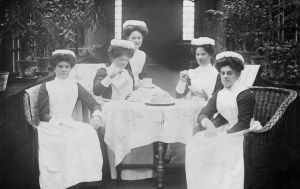 Taking in tea, female nursing staff 1908.