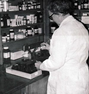 Pharmacy May 1974, photo by Hedley Jones, mortuary assistant