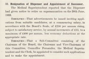Resignation Of Dispenser And Appointment Of Successor, 1933