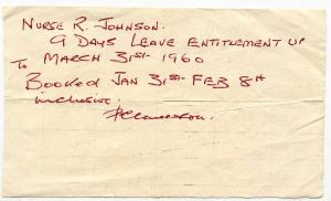 Nurse Rose leave entitlement1960